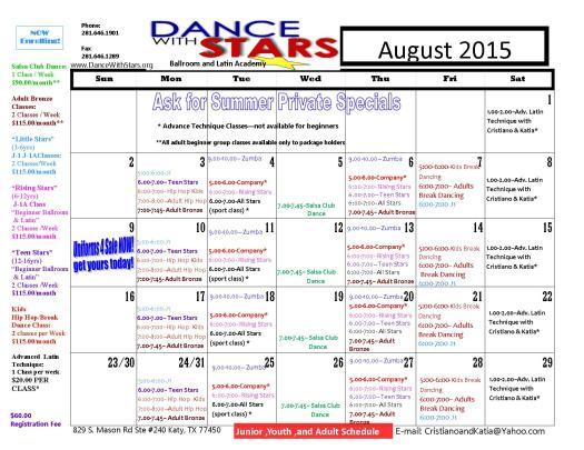 calendar August  2015